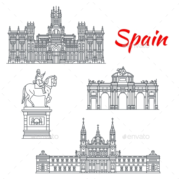 Architecture of Spain Buildings Vector Icons - Buildings Objects