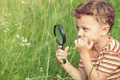 Happy little boy exploring nature with magnifying glass