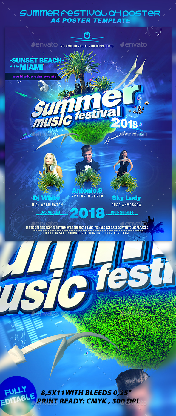 Summer Festival A4 Poster - Events Flyers