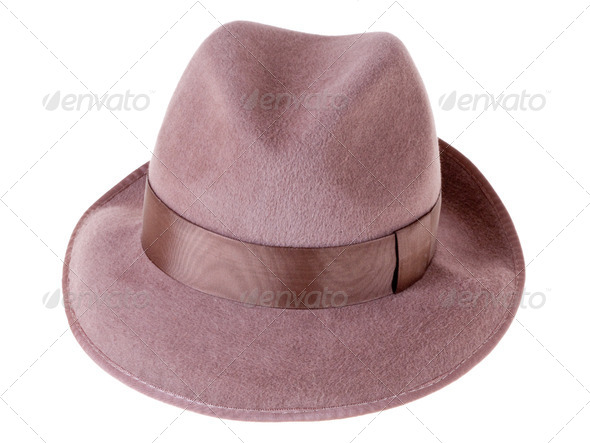 brown felt man's hat - Stock Photo - Images