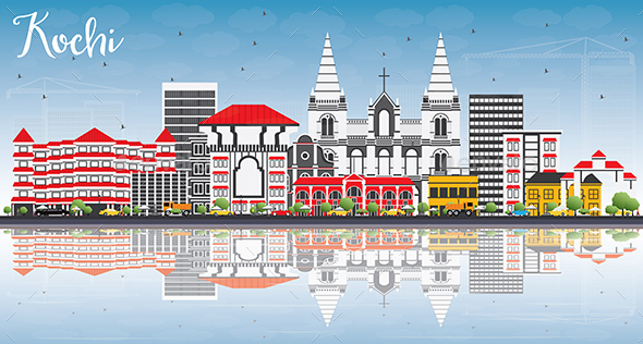 Kochi Skyline with Color Buildings, Blue Sky and Reflections - Buildings Objects