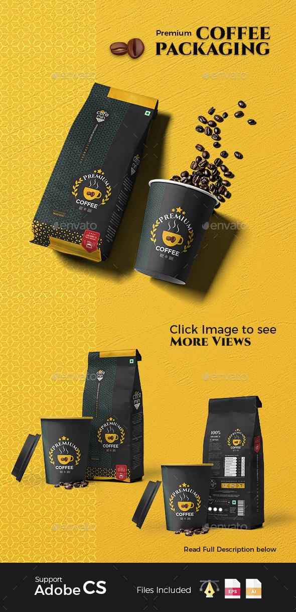 Premium Coffee packaging - Packaging Print Templates
