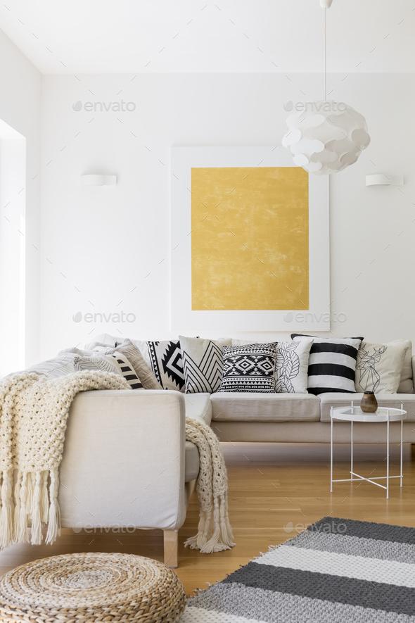 Wool blanket on sofa - Stock Photo - Images