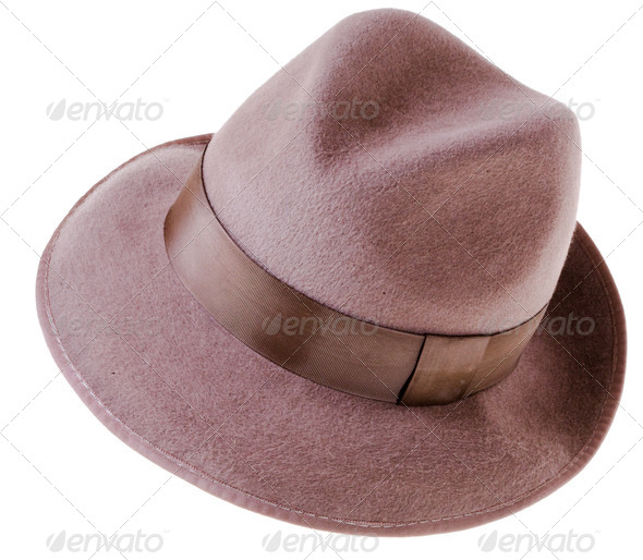 Classic brown felt man's hat - Stock Photo - Images