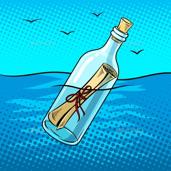 Message in Bottle Pop Art Vector Illustration - Man-made Objects Objects