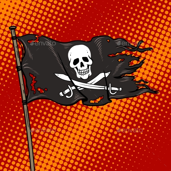 GraphicRiver Pirate Flag with Jolly Roger Pop Art Vector 20308231