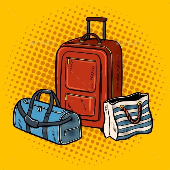 Travel Bags Pop Art Vector Illustration - Man-made Objects Objects