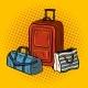 Travel Bags Pop Art Vector Illustration