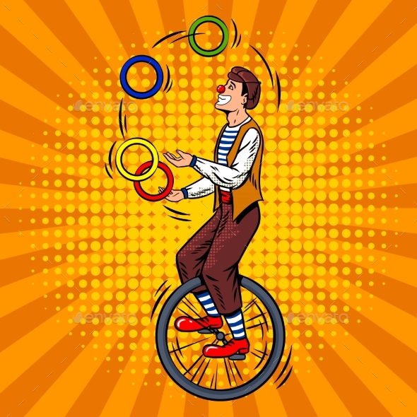 GraphicRiver Circus Juggler on Unicycle Pop Art Vector 20308234