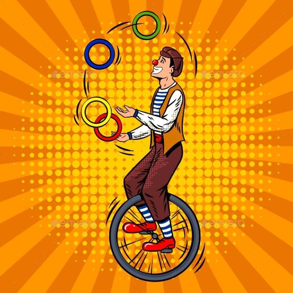 Circus Juggler on Unicycle Pop Art Vector - People Characters