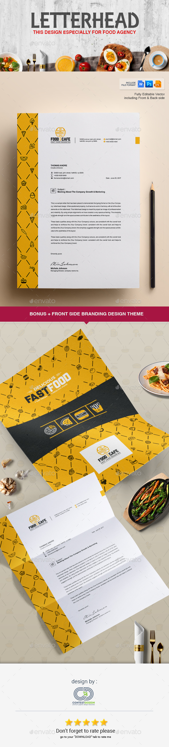 Letterhead Design Template for Fast Food / Restaurants / Cafe - Proposals & Invoices Stationery