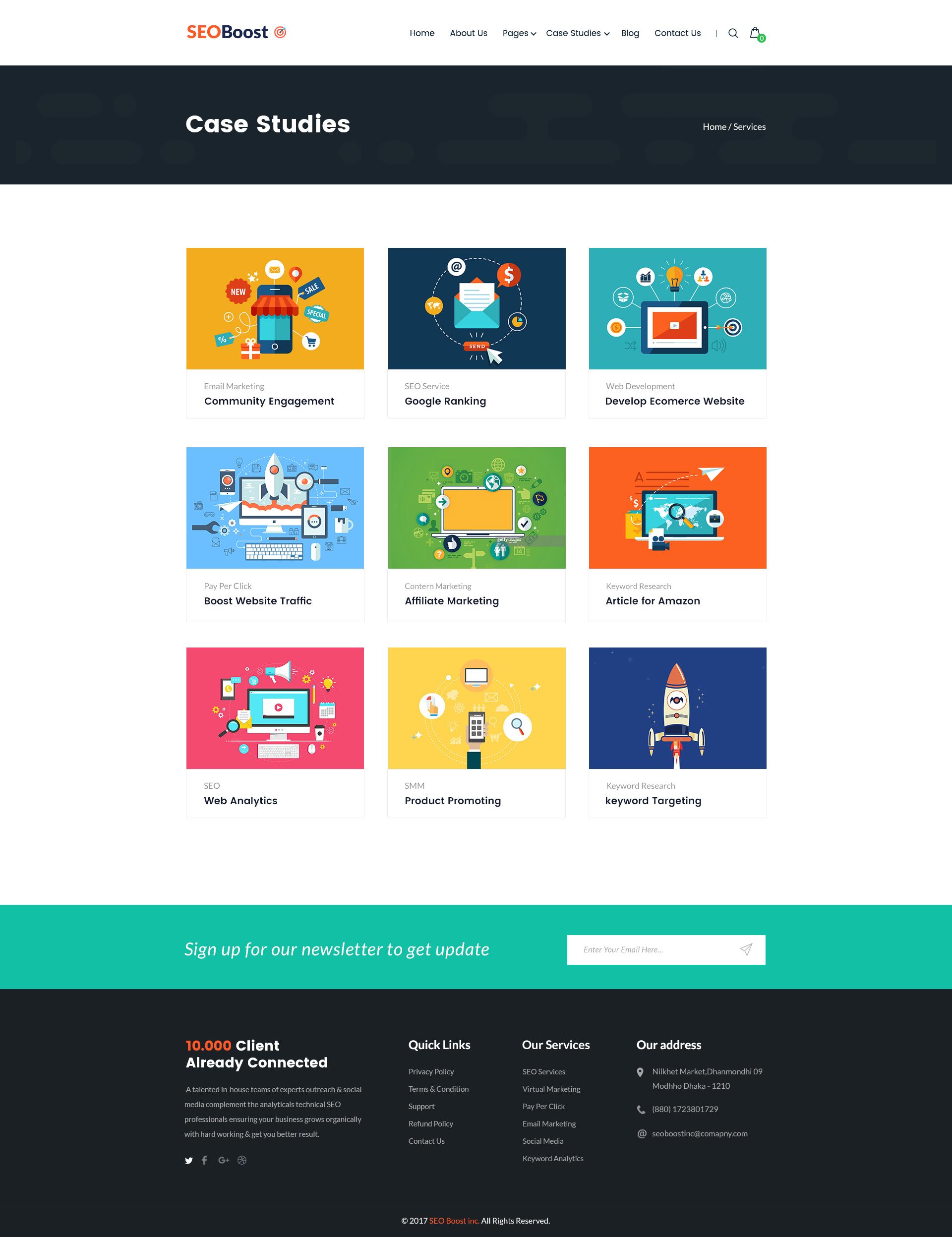 SEOBoost SEO Digital Marketing Agency PSD Template By CreativeGigs - Digital marketing email templates