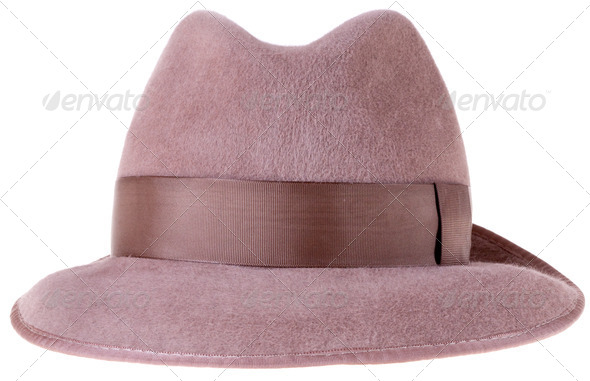 brown felt man's hat fedora - Stock Photo - Images