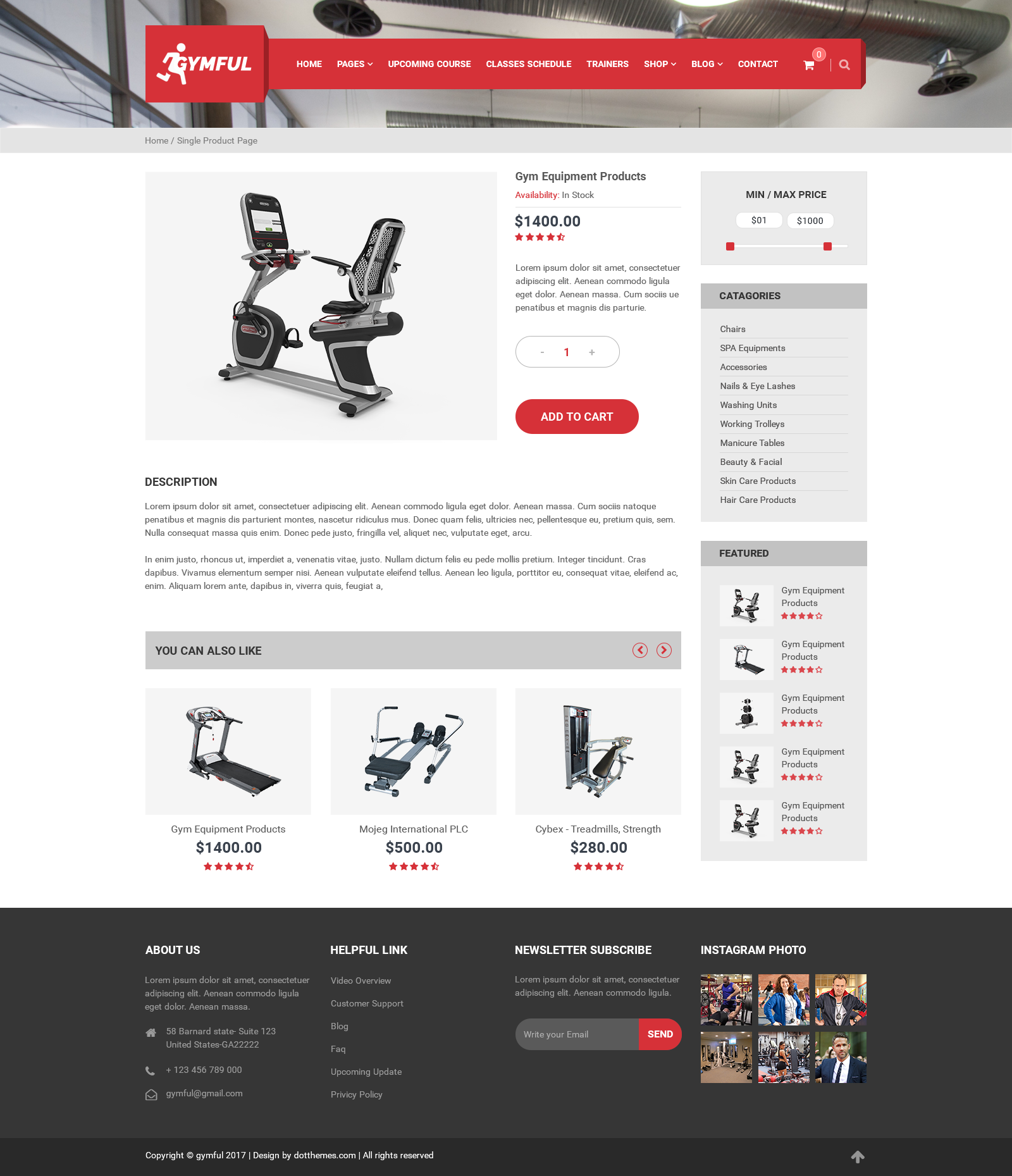 gymful one and multi page gym yoga fitness psd template with
