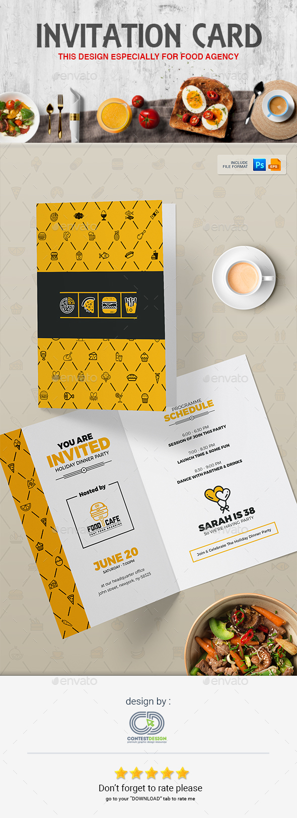 Invitation Card Design Template for Fast Food / Restaurants / Cafe