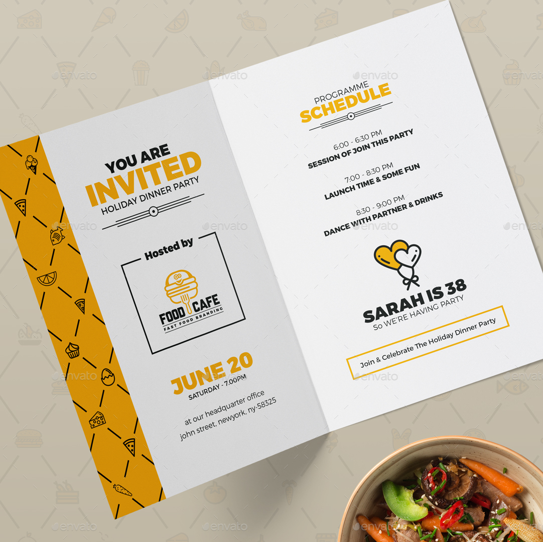 Invitation card design template for fast food