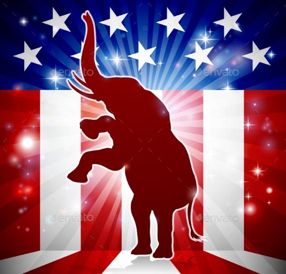 GraphicRiver Republican Elephant Political Mascot 20308746