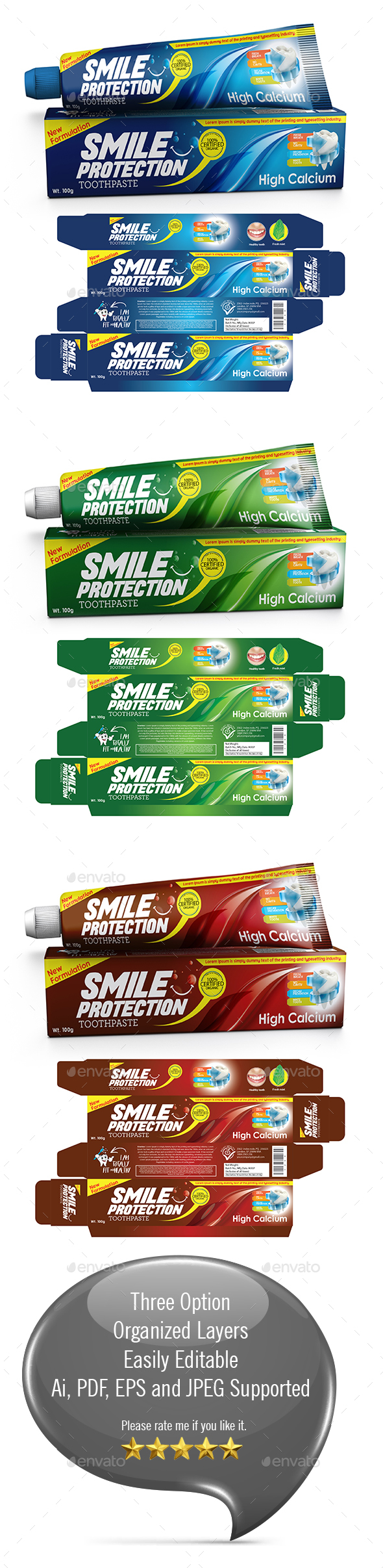 Toothpaste Packaging Template - Packaging Print Templates