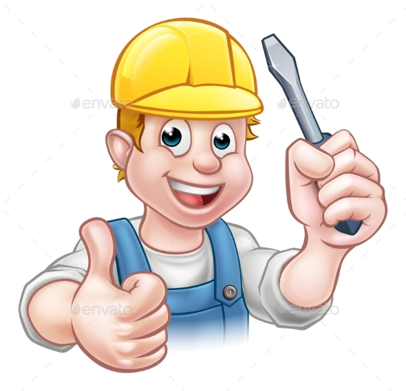 GraphicRiver Handyman Electrician With Screwdriver 20308802