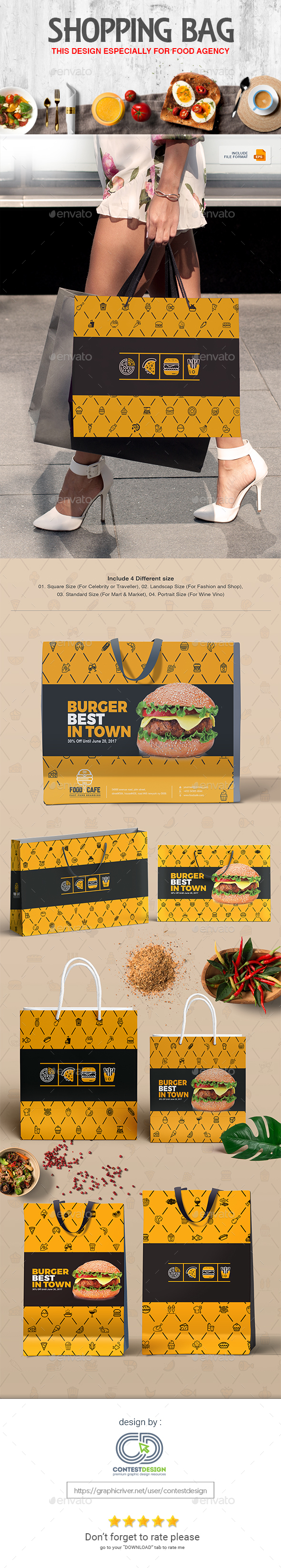 Shopping Bag Design Template for Fast Food / Restaurants / Cafe - Packaging Print Templates