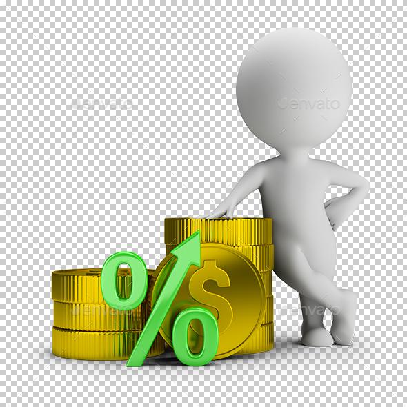 3D Small People - Deposit Percentage - Characters 3D Renders