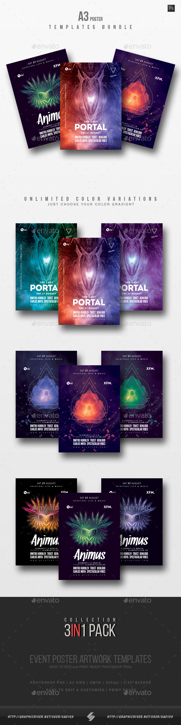 Progressive Sound vol.6 - Party Flyer / Poster Templates Bundle - Clubs & Parties Events
