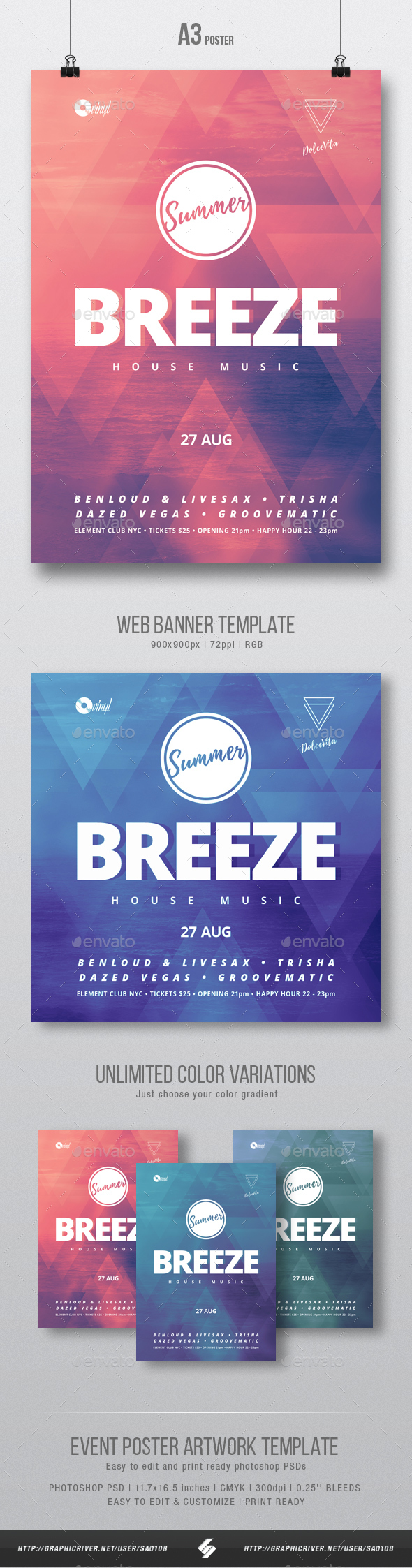 Summer Breeze - House Music Party Flyer / Poster Template A3 - Clubs & Parties Events