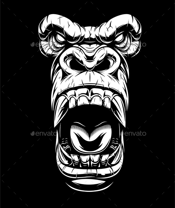 Ferocious Gorilla Head - Animals Characters