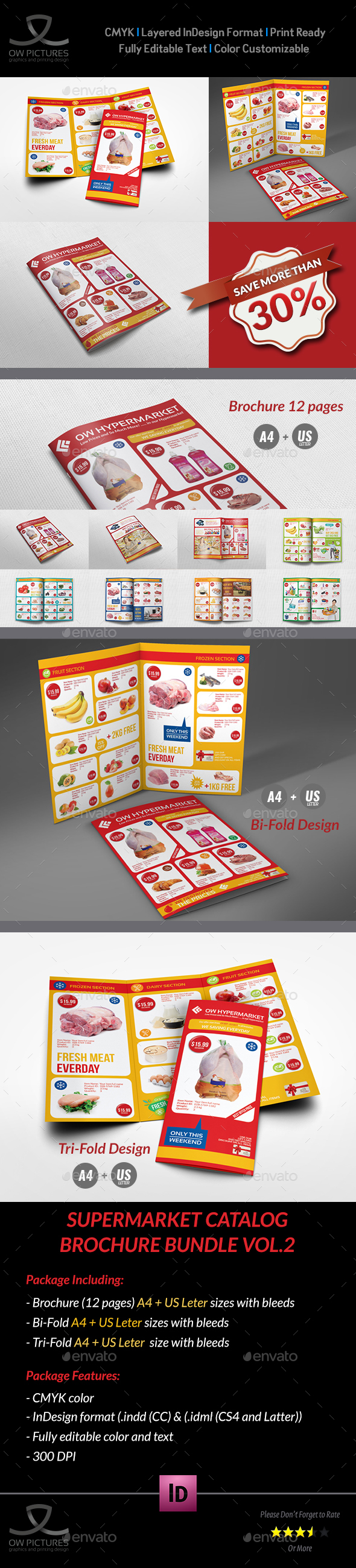 Supermarket Catalog Brochure Bundle Template Vol.2 - Catalogs Brochures