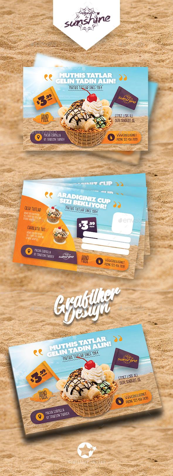 Ice Cream Postcard Templates by grafilker | GraphicRiver