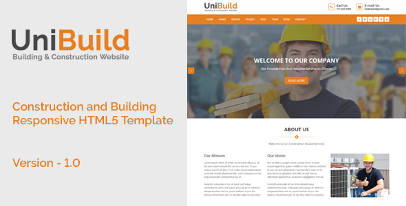 UniBuild - Construction and Building Responsive HTML5 Template