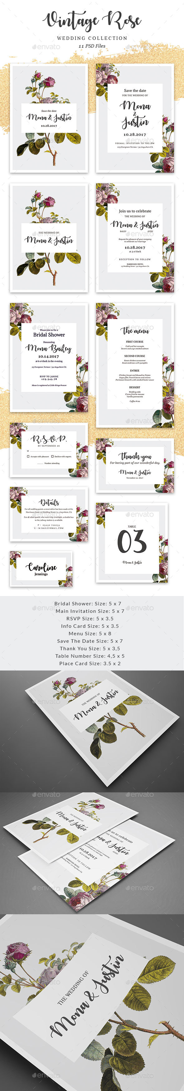 Vintage Rose - Wedding collection - Cards & Invites Print Templates