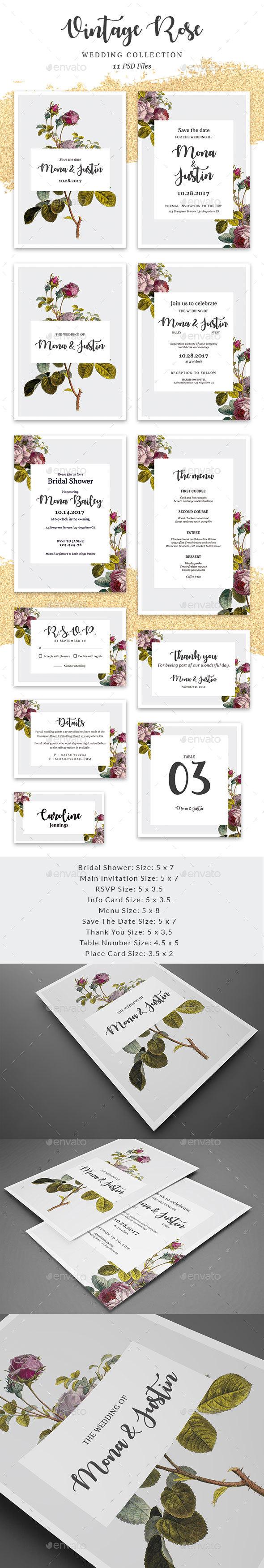 GraphicRiver Vintage Rose Wedding collection 20309097