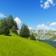 Green Mountain with Forest and Lawn 3D Render