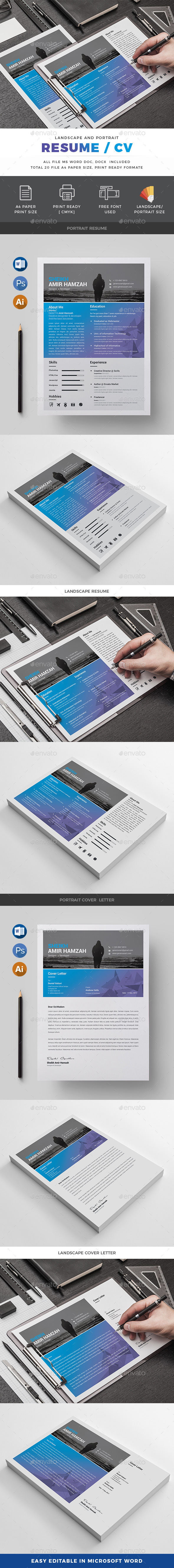 GraphicRiver Resume Landscape And Portrait 20309154
