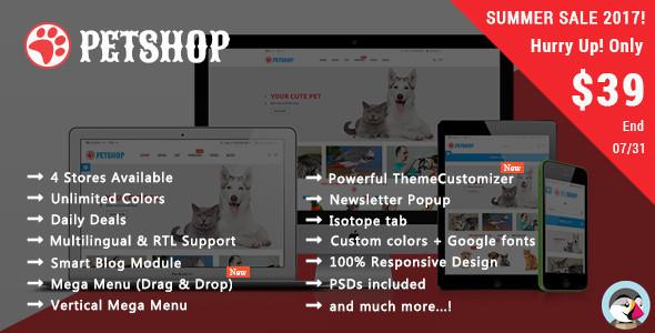 Petshop - Animal Care Responsive Prestashop 1.7 & 1.6 Theme