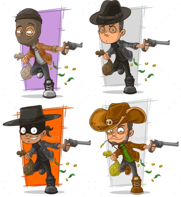 Cartoon Bank Robber with Money Character Set - People Characters