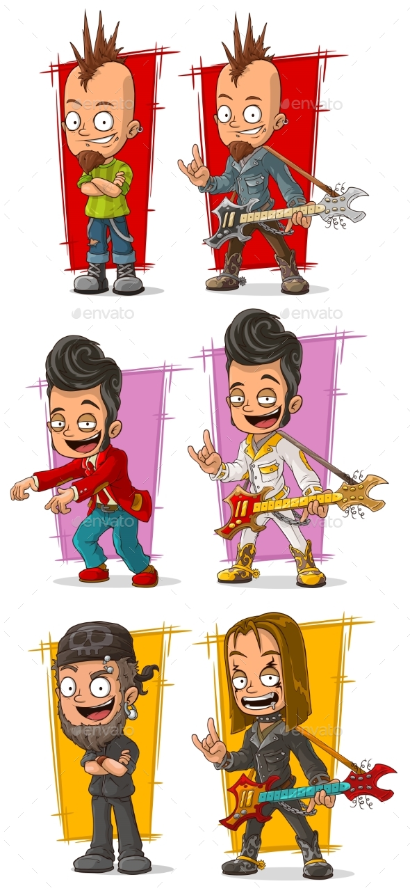 Cartoon Rock Musicians with Guitar Character Set - People Characters