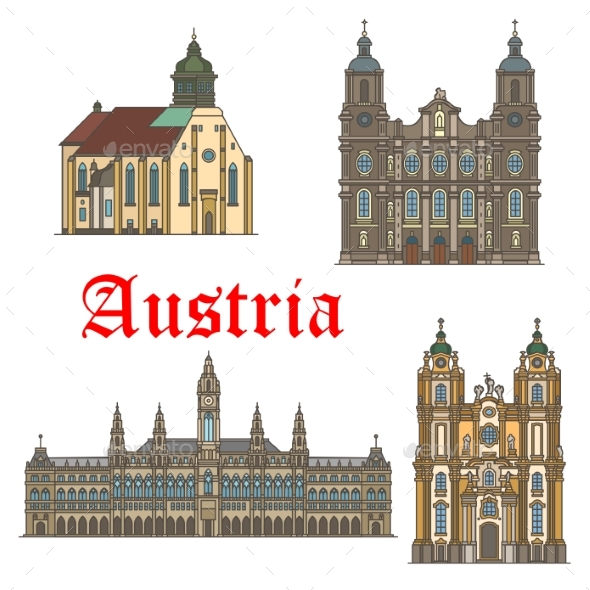 Architecture Landmarks of Austria Vector Icons - Buildings Objects