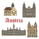 Architecture Landmarks of Austria Vector Icons - GraphicRiver Item for Sale