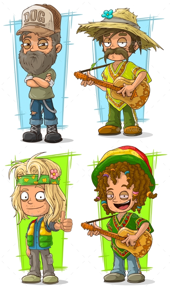 Cartoon Redneck Farmer with Guitar Character Set - People Characters