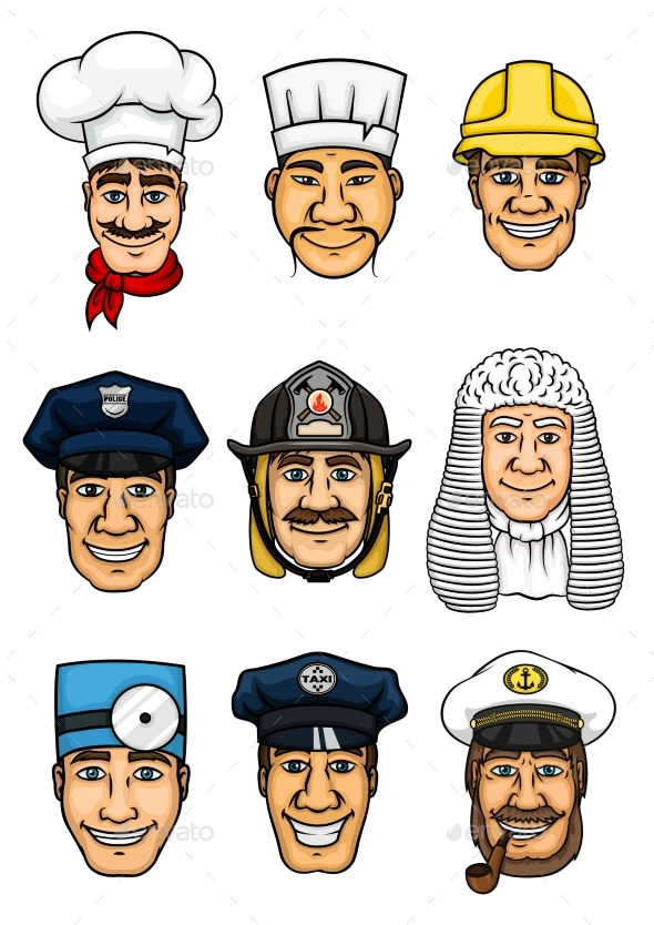 Professions Cartoon Icon Set for Occupation Design - People Characters
