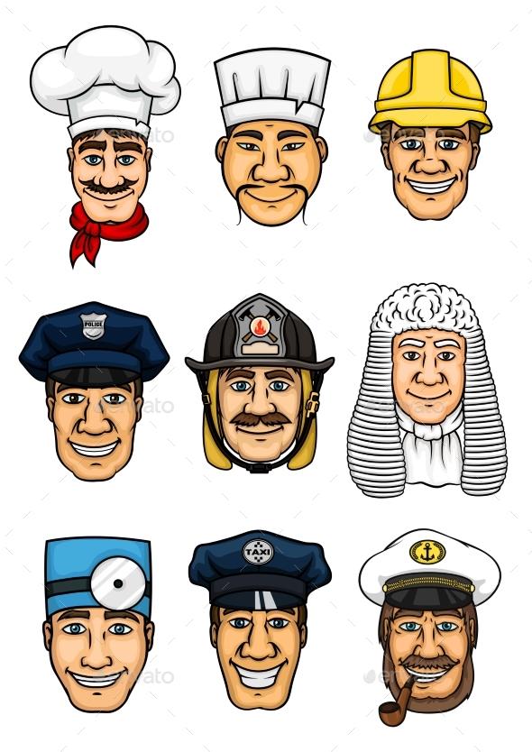 GraphicRiver Professions Cartoon Icon Set for Occupation Design 20309517