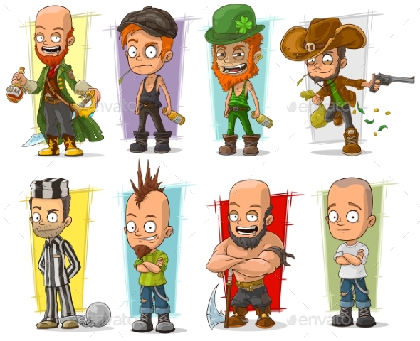 Cartoon Characters Vector Set - People Characters