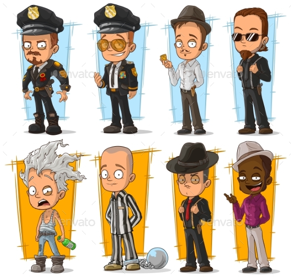 Cartoon Cool Policeman and Gangster Character Set - People Characters