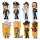 Cartoon Cool Policeman and Gangster Character Set - GraphicRiver Item for Sale