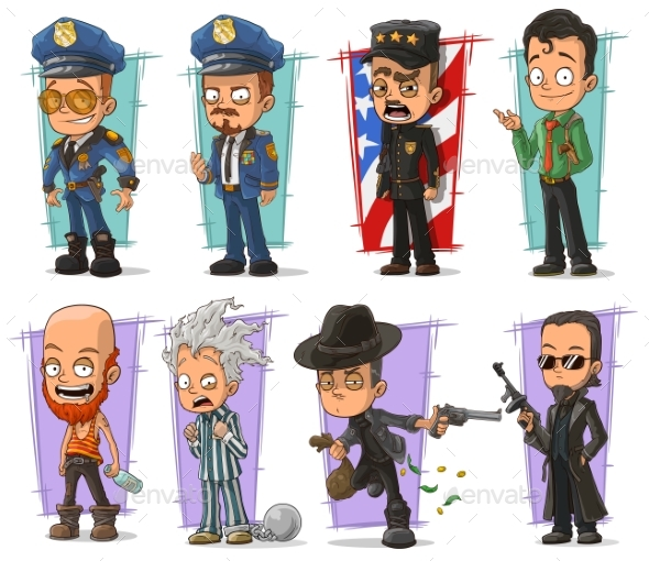 Cartoon Policeman in Uniform and Gangster Set - People Characters