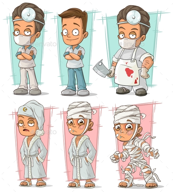 Cartoon Doctor and Patient Character Vector Set - People Characters