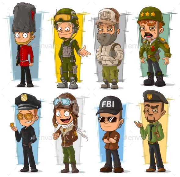 Cartoon Soldier and Pilot Character Vector Set - People Characters