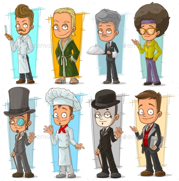 Cartoon Different Characters Vector Set - People Characters